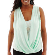 by&by Sleeveless Solid Chiffon Draped Necklace Top - Plus
