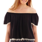 Arizona Cap-Sleeve Pom Pom-Trim Peasant Top