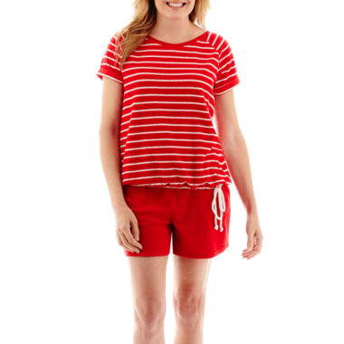 jcpenney.com | Silverwear™ French Terry T-Shirt or Shorts - Petite