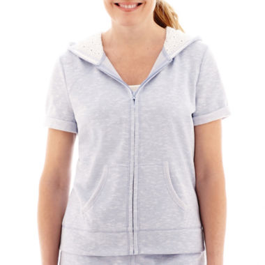 jcpenney.com | Silverwear™ Short-Sleeve Hooded Eyelet Jacket - Petite