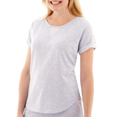 jcpenney.com | Silverwear Short-Sleeve French Terry Eyelet T-Shirt - Petite
