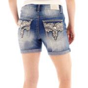 Love Indigo Lace Back Flap Pocket Denim Shorts