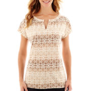 St. John's Bay® Short-Sleeve Ikat Print Top