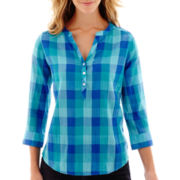 St. John's Bay® 3/4-Sleeve Gauze Popover Top