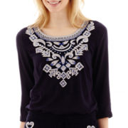 Stylus™ 3/4-Sleeve Embroidered Peasant Top