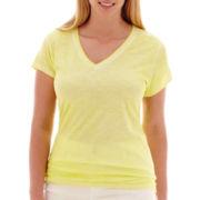 a.n.a® Short-Sleeve V-Neck Slub T-Shirt - Plus