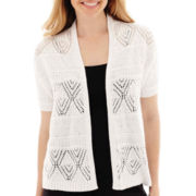 St. John's Bay® Short Sleeve Crochet Shrug Sweater
