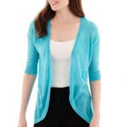 Worthington® Elbow-Sleeve Open-Front Cardigan Sweater