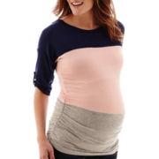 Maternity Elbow-Sleeve Ruched-Side T-Shirt
