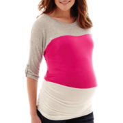 Maternity Elbow-Sleeve Ruched-Side T-Shirt - Plus