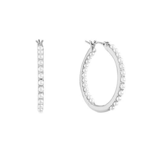 Gloria Vanderbilt White Hoop Earrings