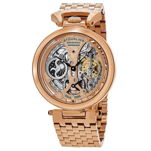 Stuhrling Mens Rose Goldtone Bracelet Watch-Sp15834