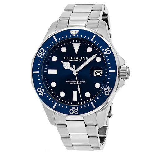 Stuhrling Mens Silver Tone Bracelet Watch-Sp15495