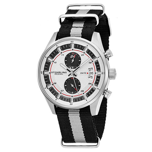 Stuhrling Mens Black Strap Watch-Sp16359