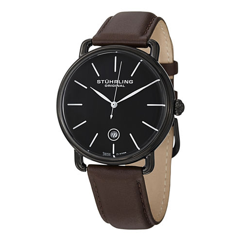Stuhrling Mens Brown Strap Watch-Sp13117