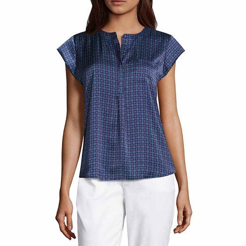 Liz Claiborne Short Sleeve V Neck Woven Blouse-Talls