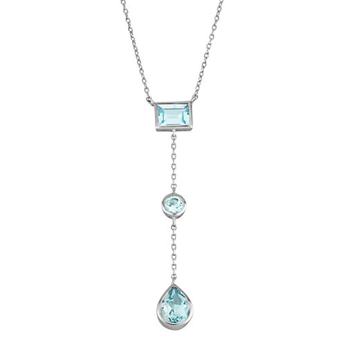 Womens Blue Topaz Y Necklace