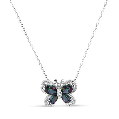Womens Green Mystic Fire Topaz Sterling Silver Pendant Necklace