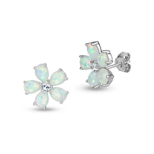 Pear White Opal Sterling Silver Stud Earrings