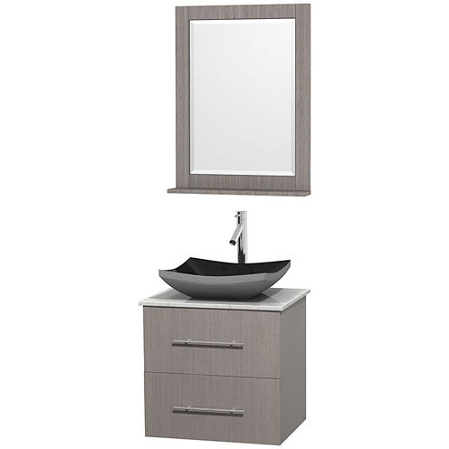 Centra 24 inch Single Bathroom Vanity; White Carrera Marble Countertop; Altair Black Granite Sink; and 24 inch Mirror