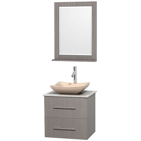 Centra 24 inch Single Bathroom Vanity; White Carrera Marble Countertop; Avalon Ivory Marble Sink; and 24 inch Mirror