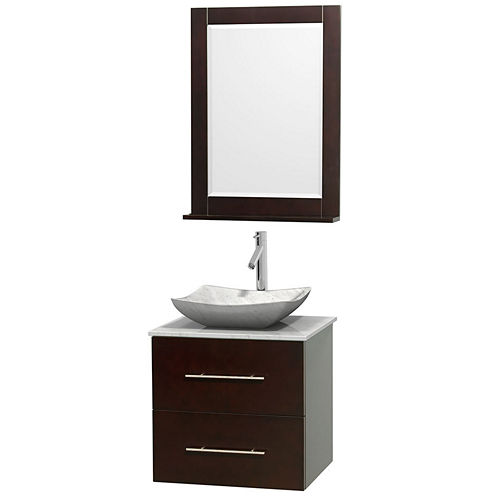 Centra 24 inch Single Bathroom Vanity; White Carrera Marble Countertop; Avalon White Carrera MarbleSink; and 24 inch Mirror