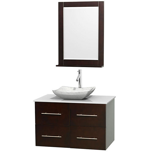 Centra 36 inch Single Bathroom Vanity; White Man-Made Stone Countertop; Avalon White Carrera MarbleSink; and 24 inch Mirror