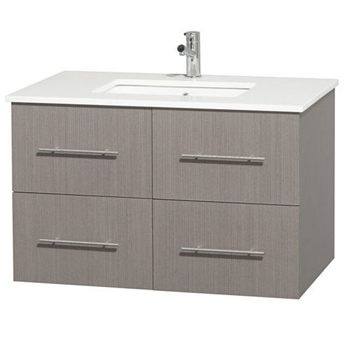 Centra 36 inch Single Bathroom Vanity; White Man-Made Stone Countertop; Undermount Square Sink; andNo Mirror