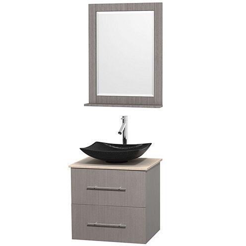 Centra 24 inch Single Bathroom Vanity; Ivory Marble Countertop; Arista Black Granite Sink; and 24 inch Mirror