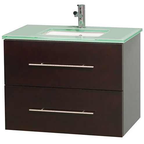 Centra 30 inch Single Bathroom Vanity; Green GlassCountertop; Undermount Square Sink; and No Mirror