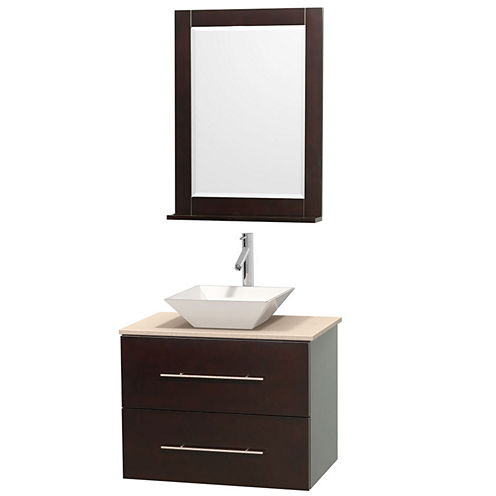 Centra 30 inch Single Bathroom Vanity; Ivory Marble Countertop; Pyra White Porcelain Sink; and 24 inch Mirror