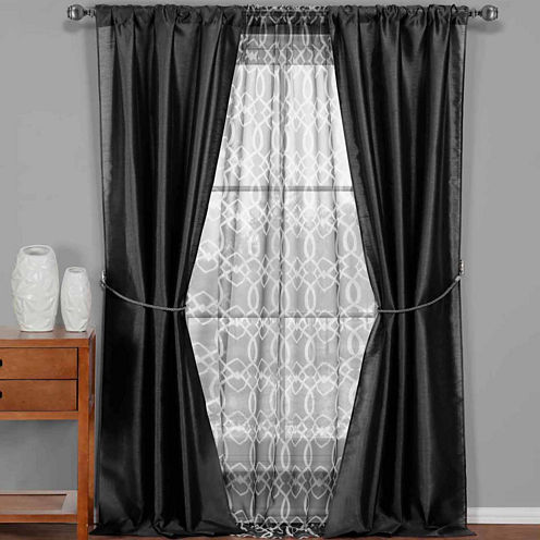 Duck River Textiles Worthington Faux Silk and Sheer 5-Piece Window Set In Garnet