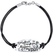Footnotes Too® Pure Silver-Plated Oval Disk Black Leather Bracelet