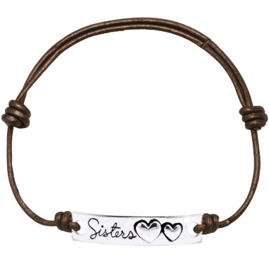 jcpenney.com | Footnotes Too® Pure Silver-Plated Sisters Brown Leather Bracelet