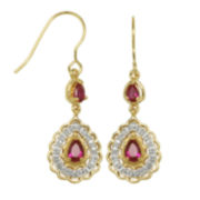 18K Gold-Plated Ruby & Diamond-Accent Drop Earrings