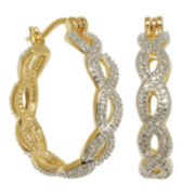 18K Gold-Plated Diamond-Accent Twist Hoop Earrings
