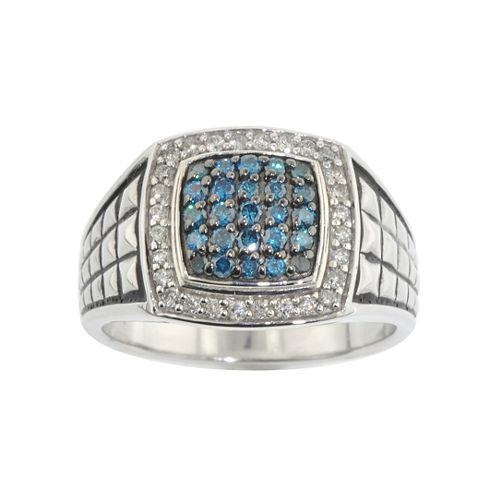 Mens 3/4 CT. T.W. White & Color-Enhanced Blue Diamond Ring