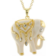 KJL by KENNETH JAY LANE White Enamel Elephant Pendant Necklace