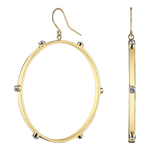 DOWNTOWN BY LANA Gold-Tone Crystal Hoop Earrings
