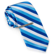 JF J Ferrar® Call Me Stripey Tie and Tie Bar Set - Slim