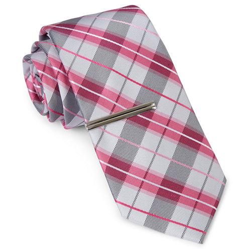 JF J. Ferrar® Baby Got Plaid Tie and Tie Bar Set - Slim