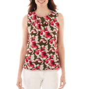 Liz Claiborne® Sleeveless Floral Bubble Top - Tall
