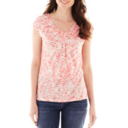Liz Claiborne Short-Sleeve Knot-Front Tee - Tall