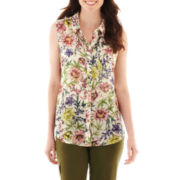 Liz Claiborne Sleeveless Button-Front Floral Blouse with Cami - Tall