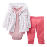 Carter's® Pink 3-pc. Cardigan Set - Girls newborn-12m