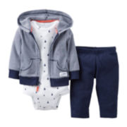Carter's® Navy Sailboat 3-pc. Hoodie Set - Boys newborn-12m