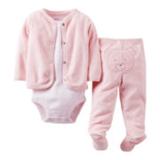 Carter's® Pink Bear 3-pc. French Terry Set - Girls newborn-9m