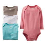 Carter's® Heathered Pointelle 4-pk. Long-Sleeve Bodysuits - Girls newborn-24m
