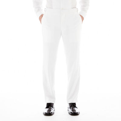 Savile Row® White Tuxedo Pants - Slim-Fit