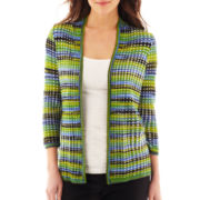 Worthington® 3/4-Sleeve Open-Stitch Flyaway Cardigan Sweater - Petite